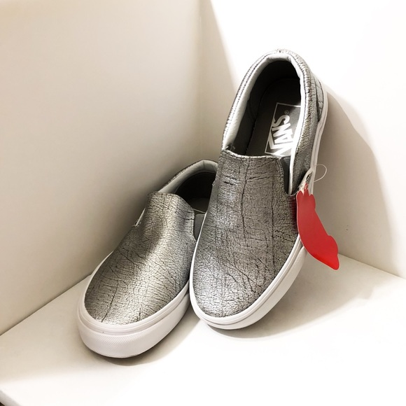 7986dea20b Vans Silver Leather Classic Slip-on Sneakers